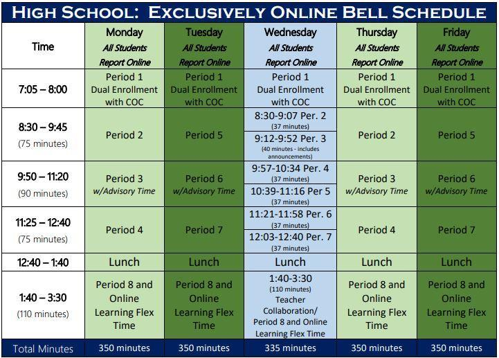 Image of the Online Bell schedule