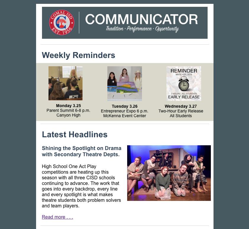 screen shot of communicator news