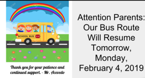 Bus Route Resumes 2/4/19