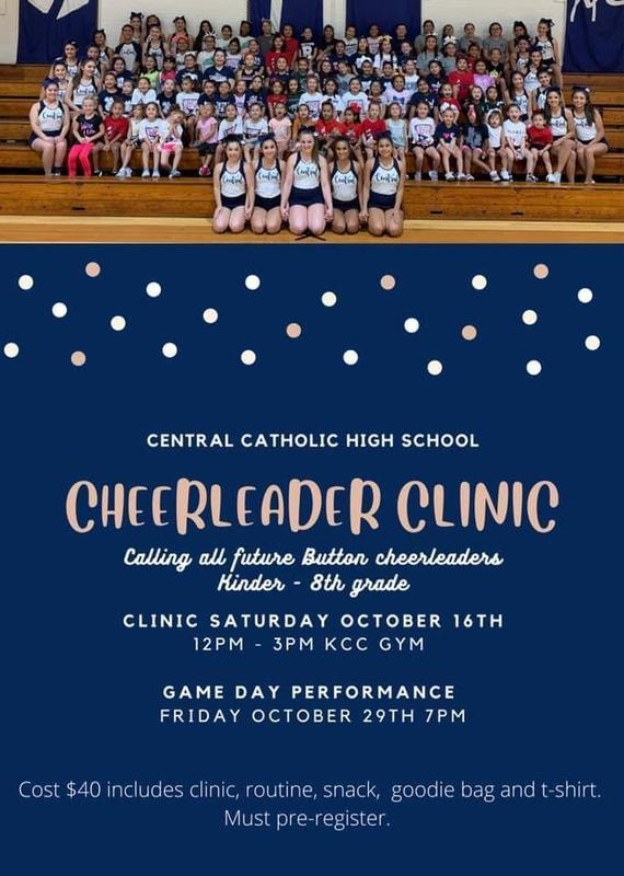 CCHS Cheer Clinic - Saturday, October 16, 2021   12pm-3pm   KCC Gym