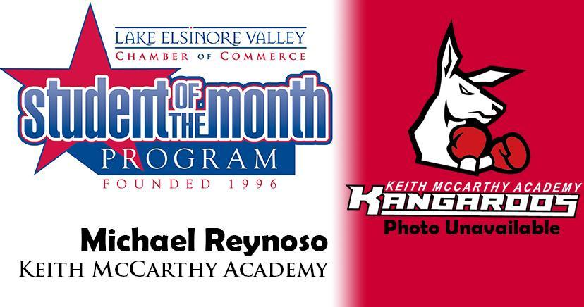 Michael Reynoso, Keith McCarthy Academy, is one of our Student of the Month Program honorees for December. Congratulations!