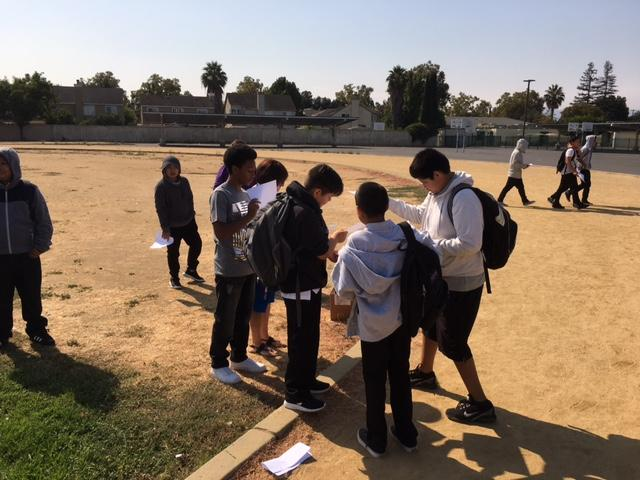 students in a field look at paper images of solar eclipse