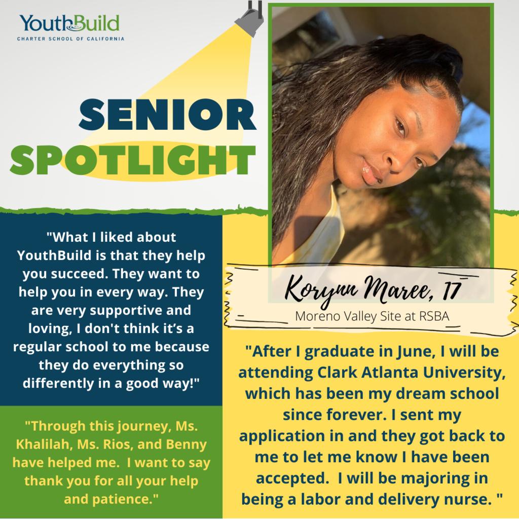 Senior Spotlight for graduate Korynn Maree