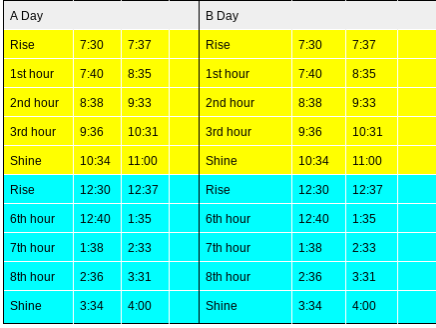 PM AM Schedule