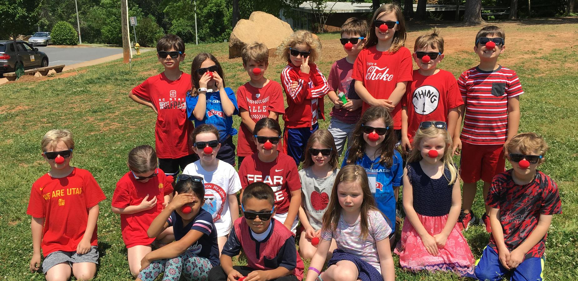 Students wearing red noses for Red and Blue Day