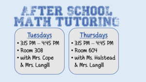 Afterschool Math Tutoring on Tuesdays and Thursdays 3:15 - 4:15 PM