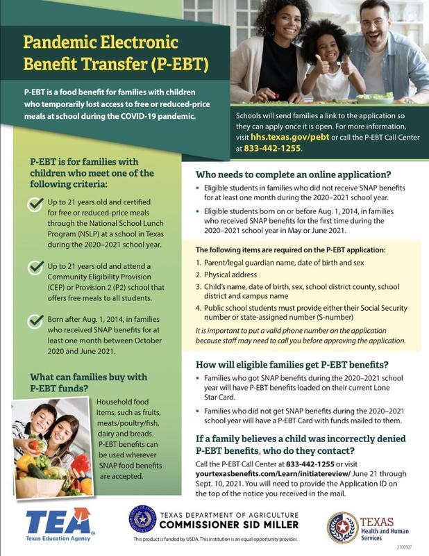 Image of P-EBT flyer June 2021