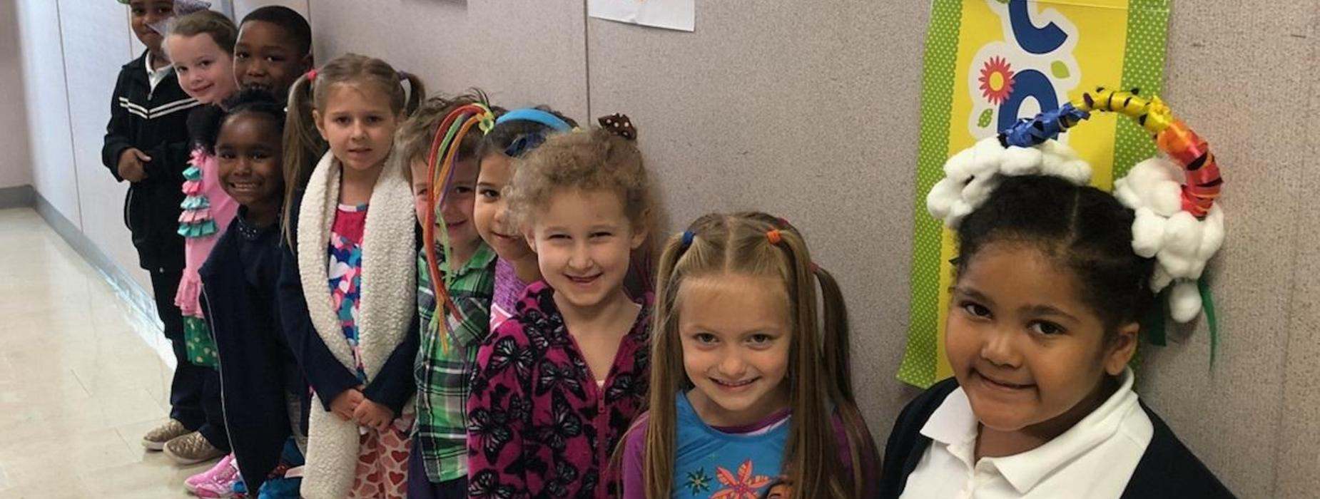 Mrs. Zerangue's Kindergarten Class Celebrates Red Ribbon Week! Wacky Hair/Dress Day!