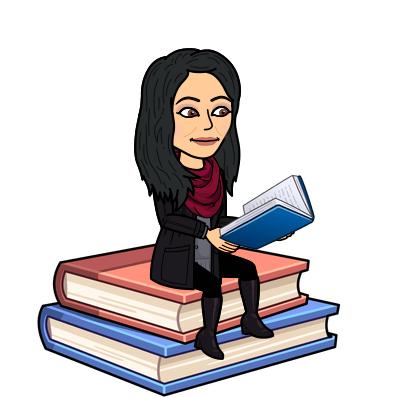 Bitmogi of Mrs. Neubert sitting on a pile of books.