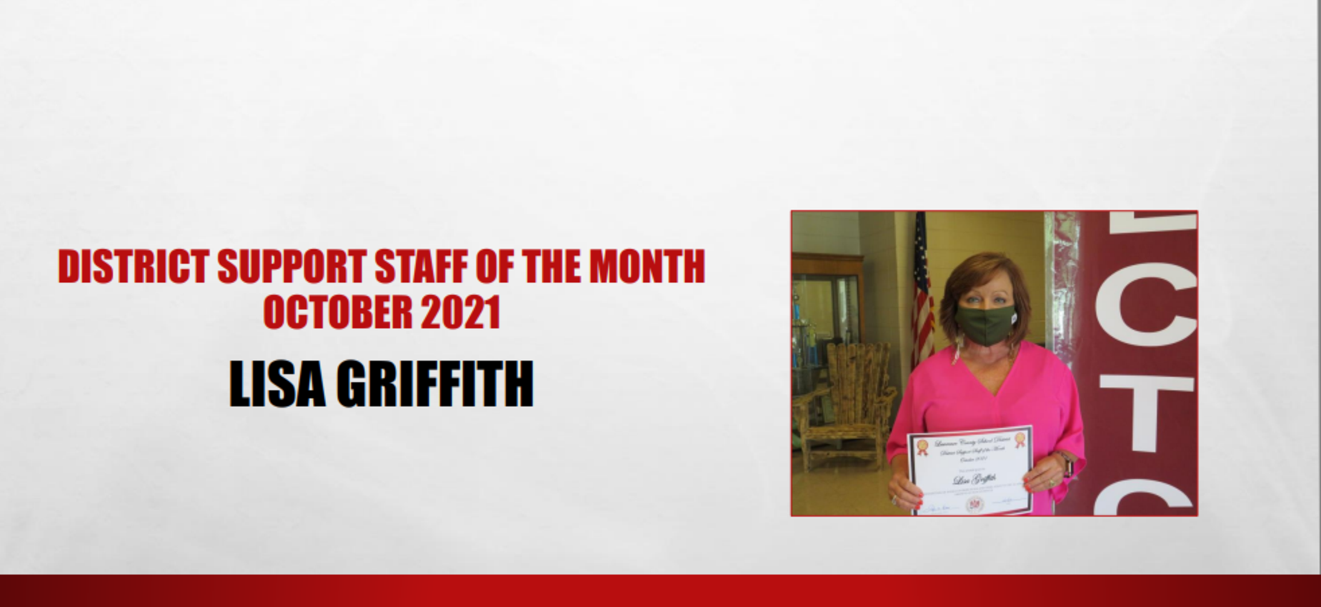 October 2021 Support Staff of the Month Lisa Griffith