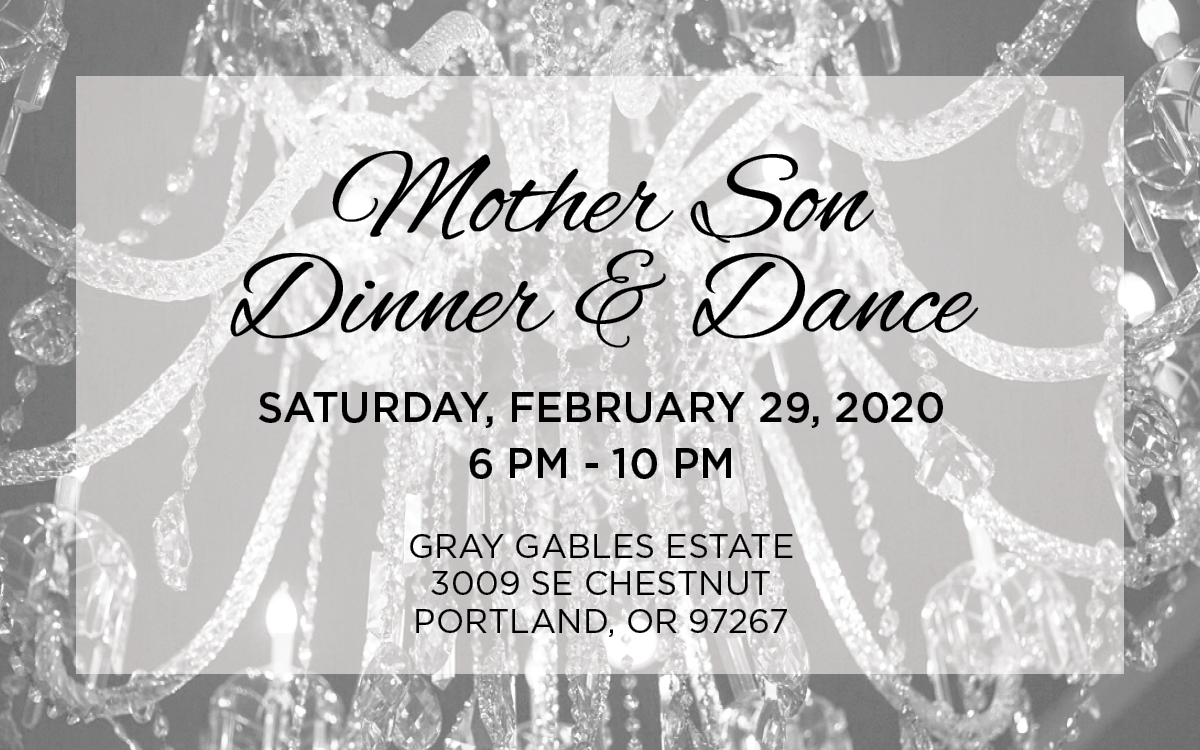 Mother Son Dinner & Dance graphic invitation with gray chandelier background