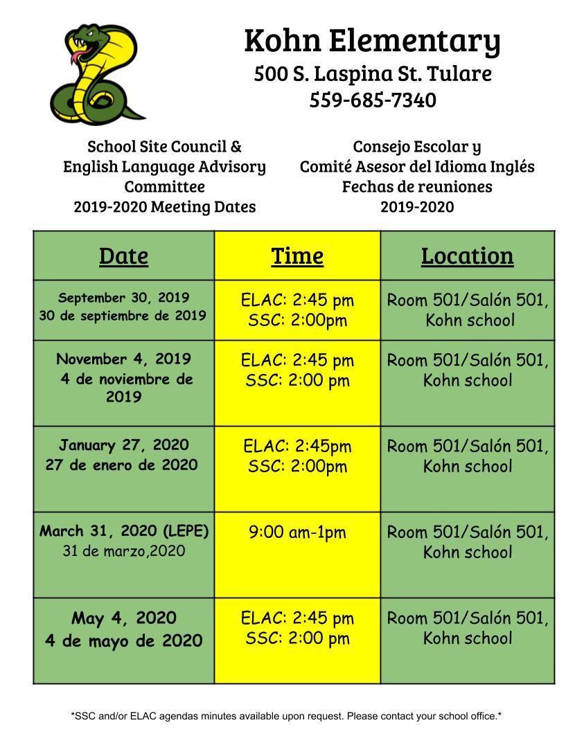 ELAC/SSC Dates