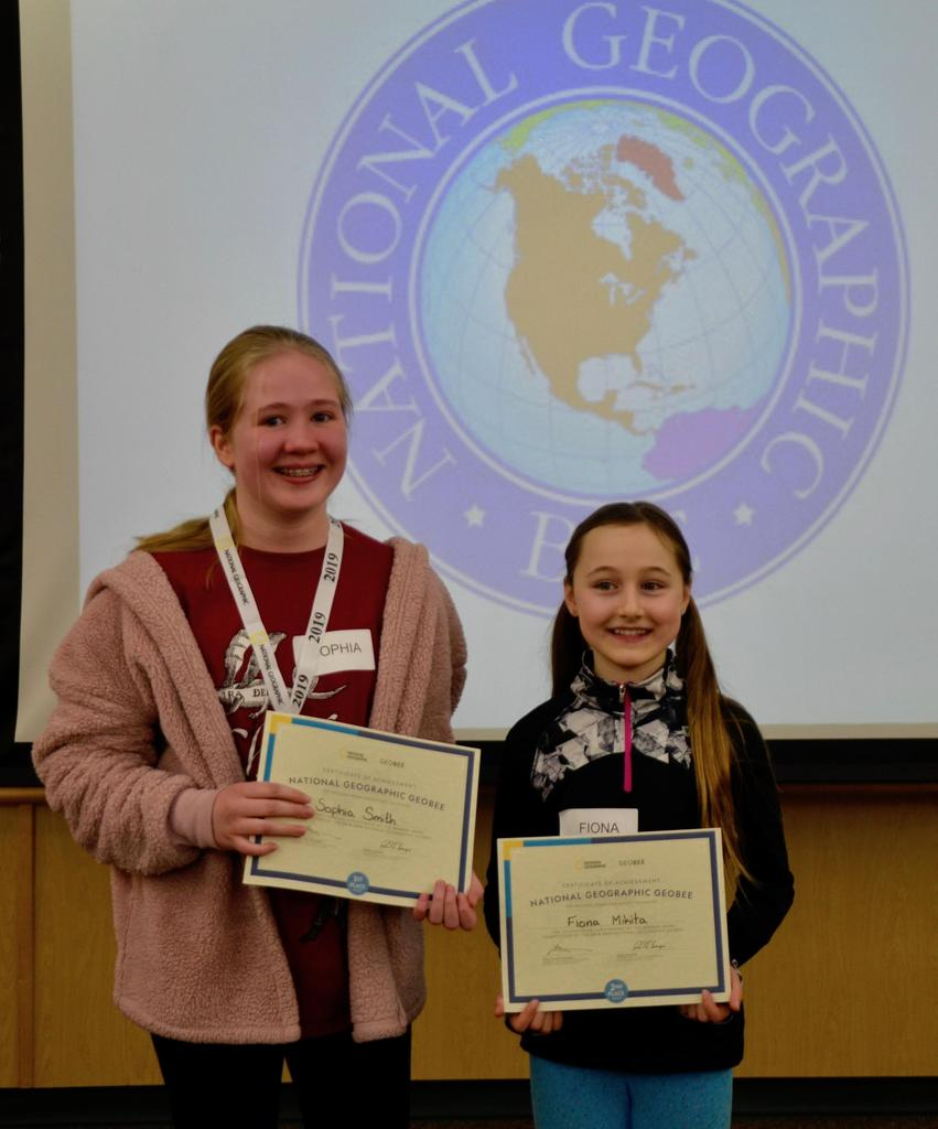Sophia Smith, Osborne's Geo Bee Champion, and our second place winner, 4th grader, Fiona Mikita.