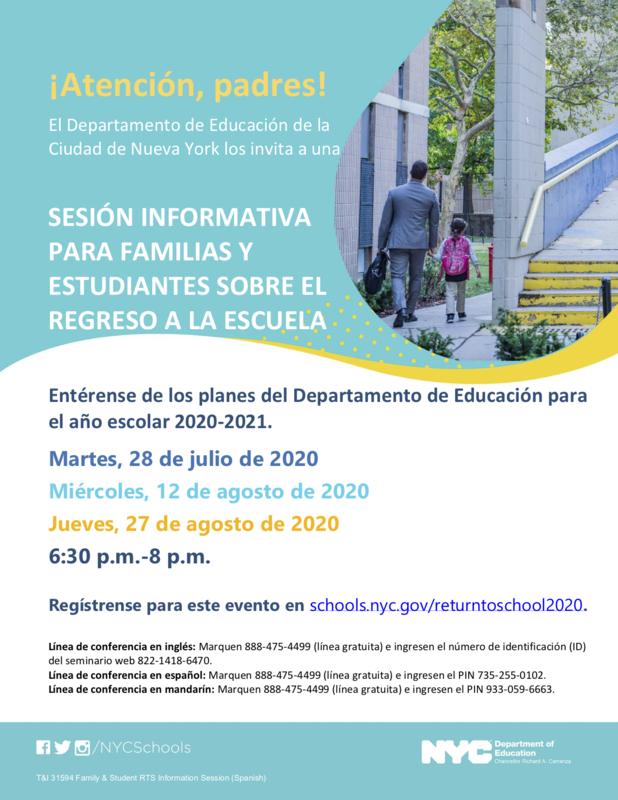 NYC DOE Family Return To School Session Flyer Spanish