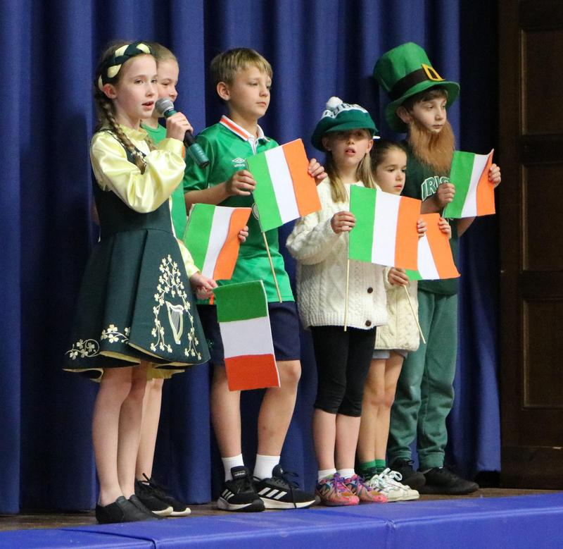 Photo of McKinley 3rd graders representing Ireland at a recent International Celebration.