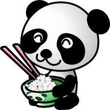 Panda with rice bowl