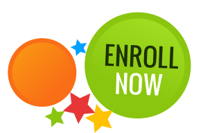 colorful bubbles with the words enroll now