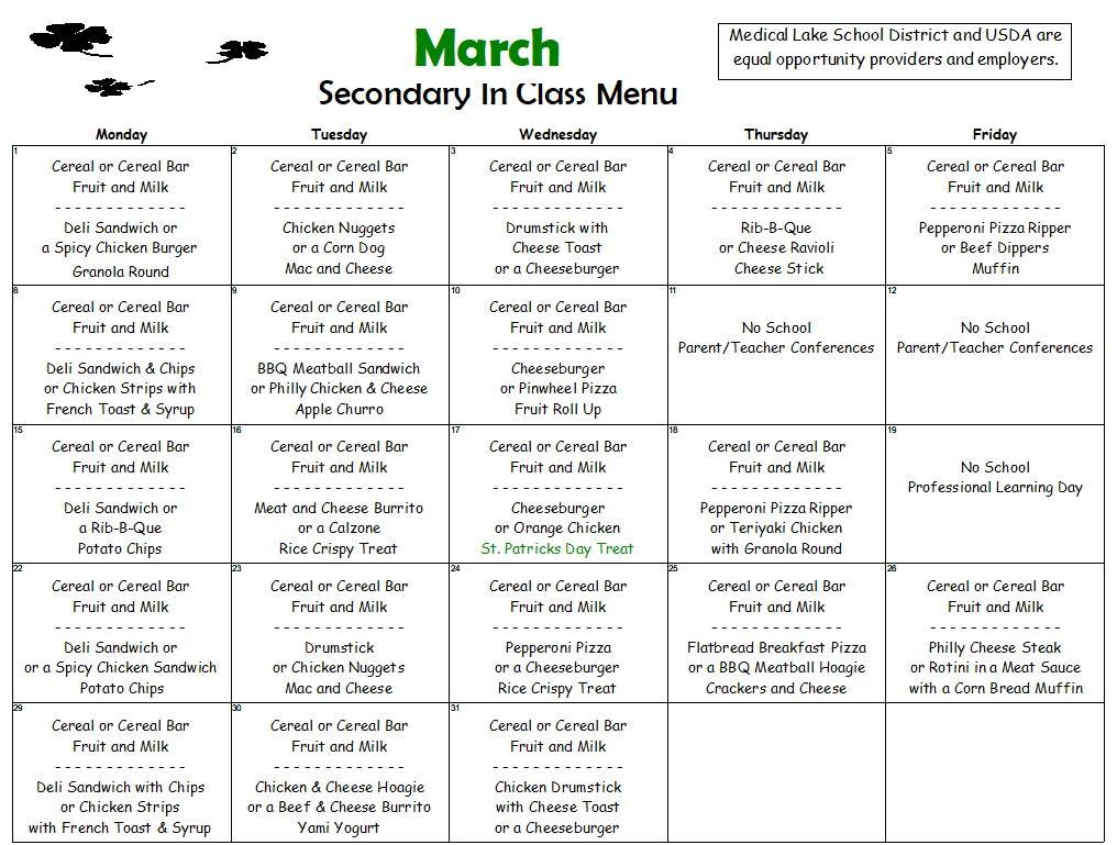 March In Class Menu for Secondary