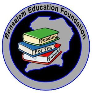 Bensalem Education Foundation logo round - gray surrounding a pile of books