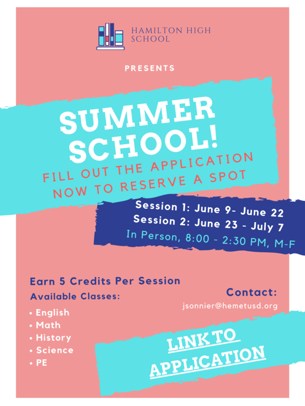 Summer School Announcement (all text, but in summer colors)