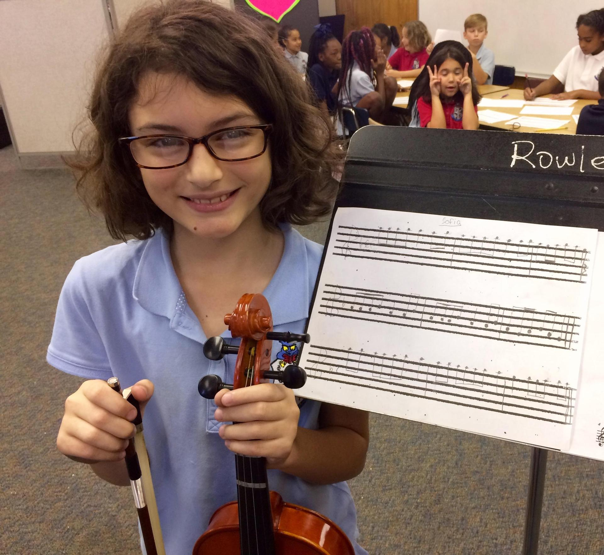 Student with violin
