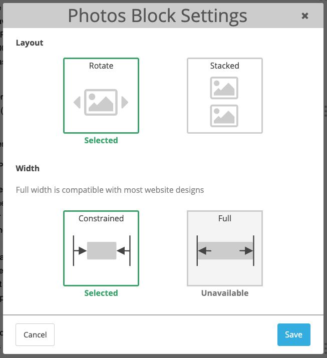 screenshot of photo block settings