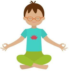 Cartoon image of boy with glasses, blue shirt, and green pants in yoga pose.