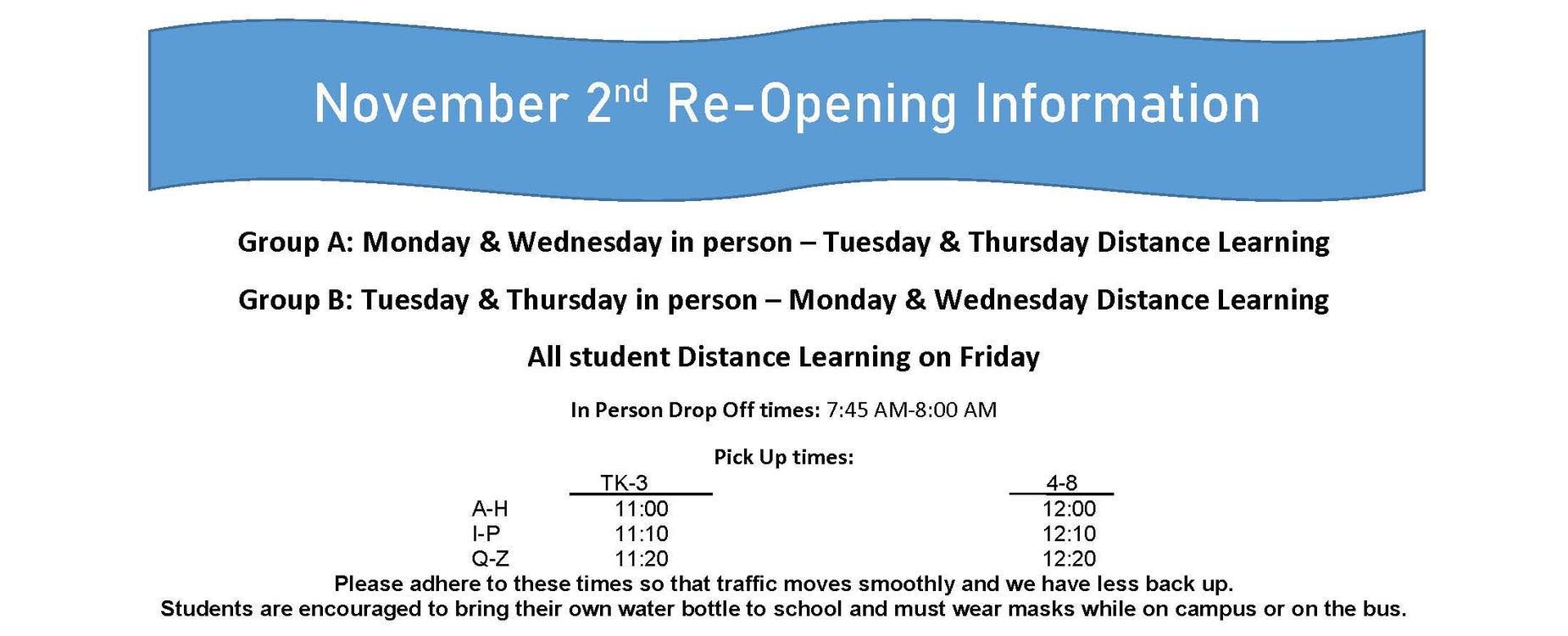 Nov 2 Re-opening information