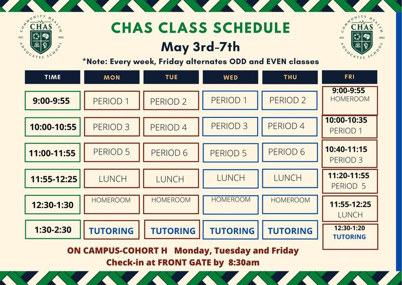 CHAS Class Schedule Week of May  3rd / Horario de clases de CHAS Semana del 3 de mayo Featured Photo