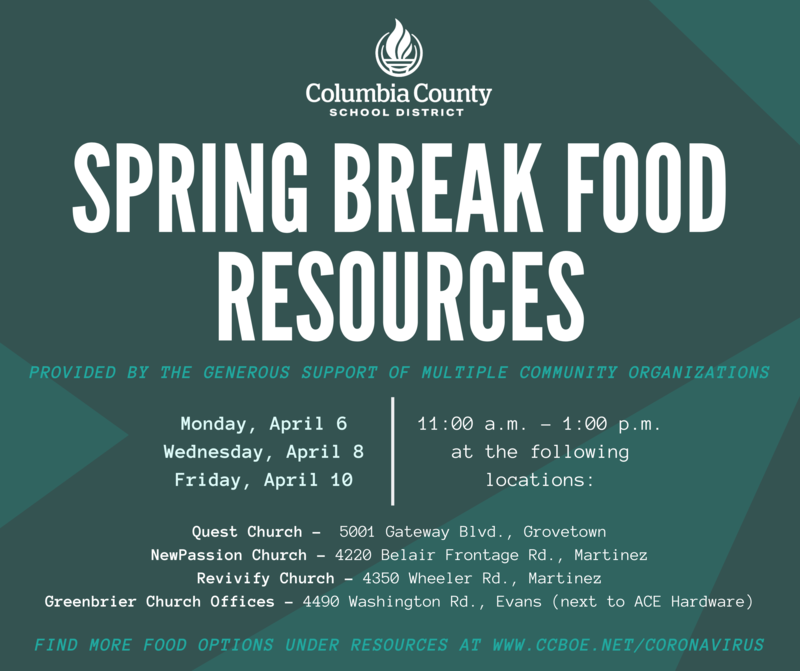 Spring Break Food Resources infographic