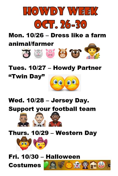 Howdy Spirit Week! Oct. 26-30th Featured Photo