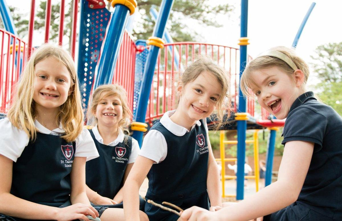 Smiling girls on playground