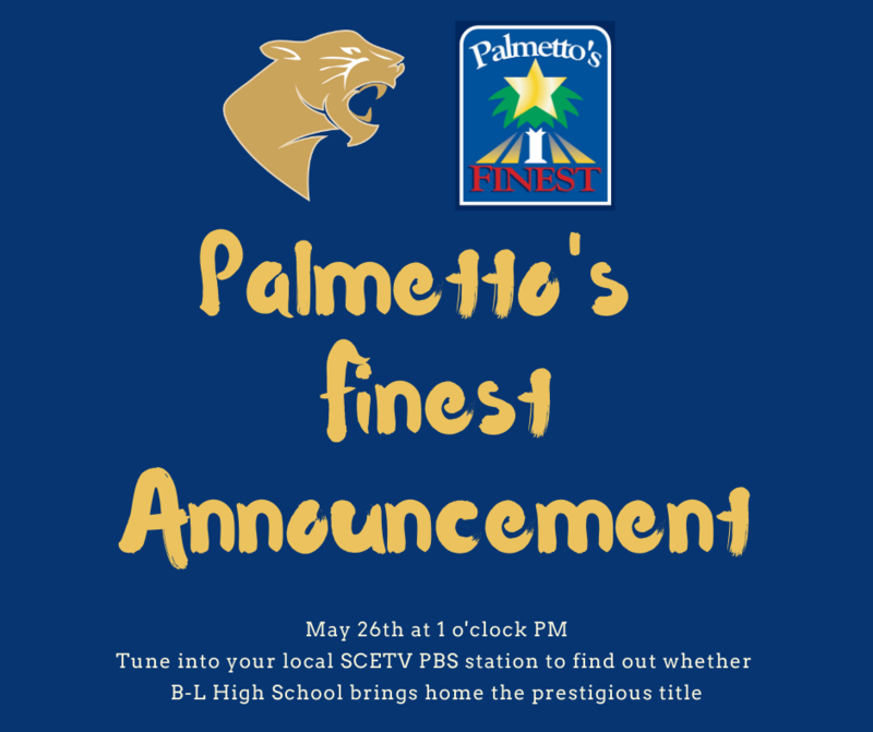 Palmetto's Finest Announcement To Be Made May 26th