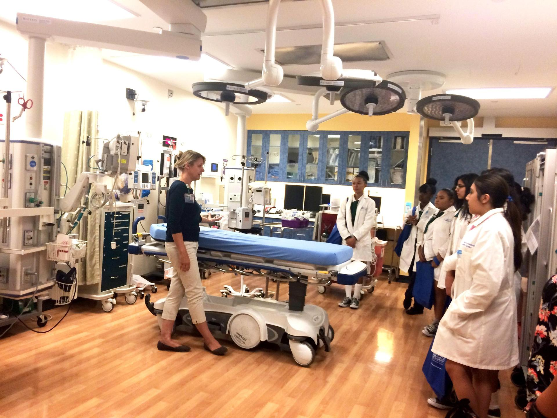 health career students in one of the specialized hospital rooms