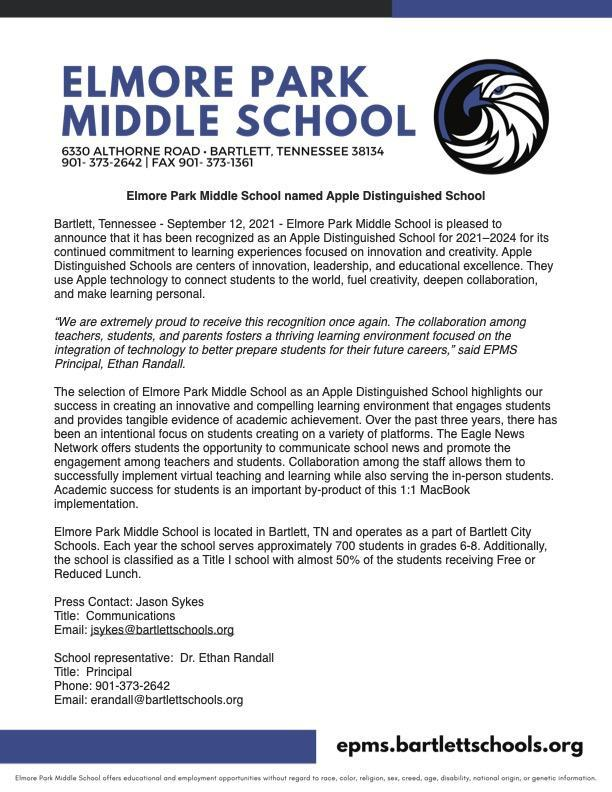 Elmore Park Middle School named Apple Distinguished School Featured Photo