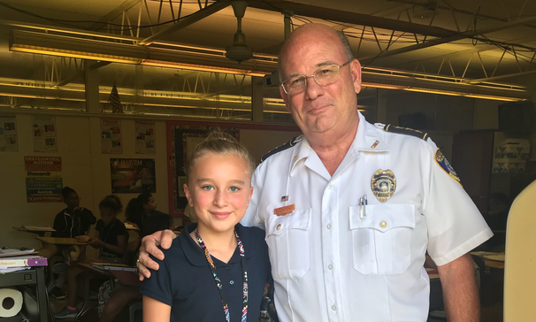 Chief of Police Randy Fontenot visited Ava Grace Brown at Central Middle School.  Chief Fontenot met Ava at a school meeting, where she asked if he would come to Central Middle to speak with the children. After he met her, he saw her picture in the newspaper and decided to write her a letter to accompany a copy of the picture and deliver them to her personally at CMS.