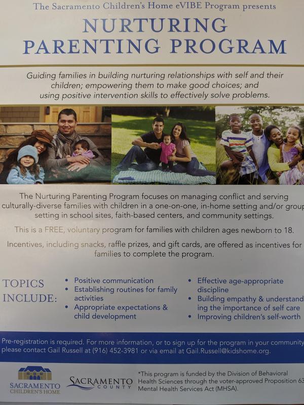 Nurturing Parent Program flier