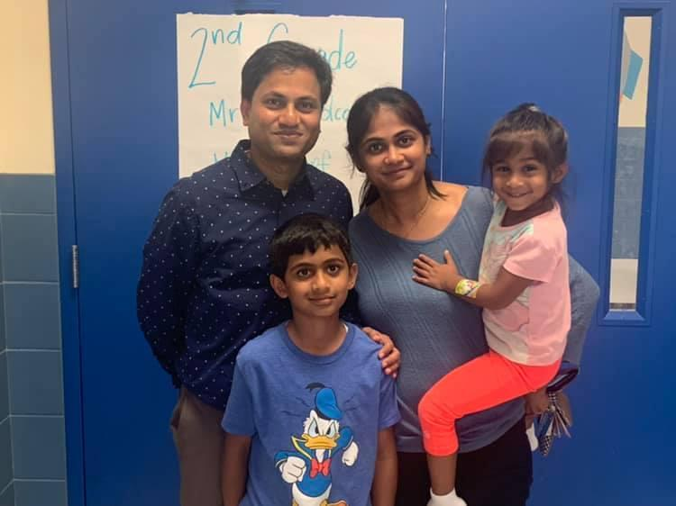 a family at a school event