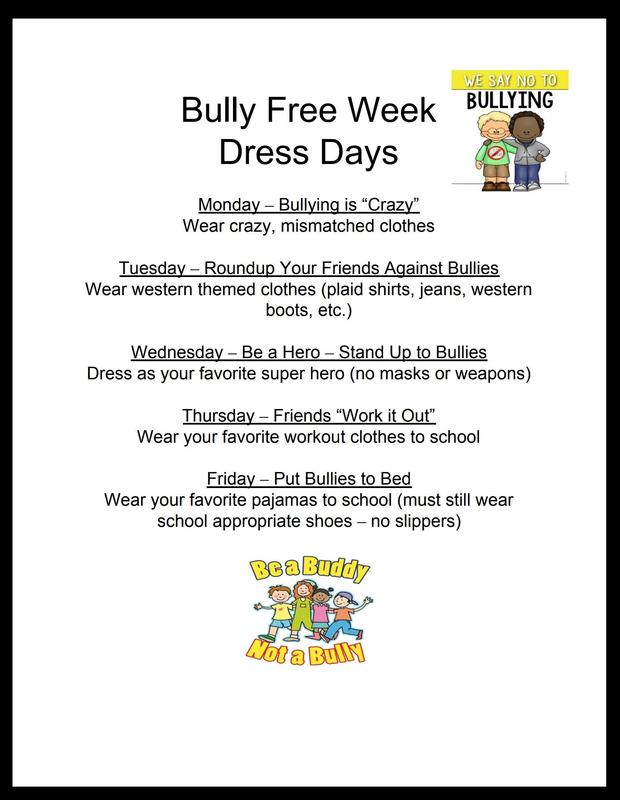 Anti-Bullying Week Dress Up Days are Oct. 1st-5th! Featured Photo
