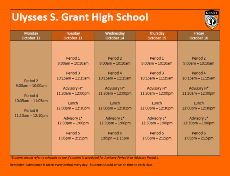 Bell Schedule for Grant's Distance Learning Featured Photo