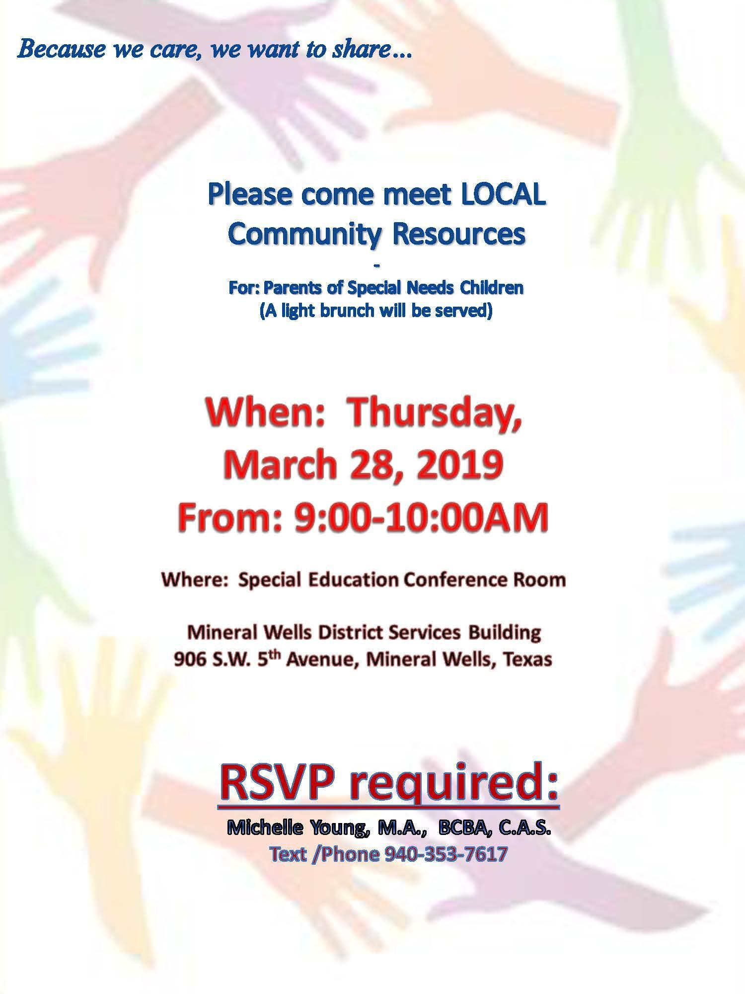 Parent Community Resource Brunch March 28th from 9-10 am