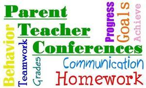 words in multiple colors: Parent Teacher Conferences, behavior, teamwork, grades, communication, homework, parents, teacher