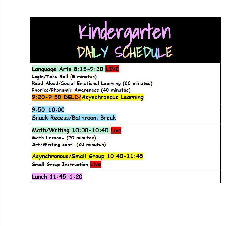 Kinder daily schedule