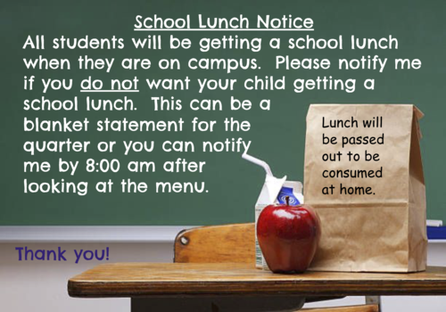 School Lunch Notice