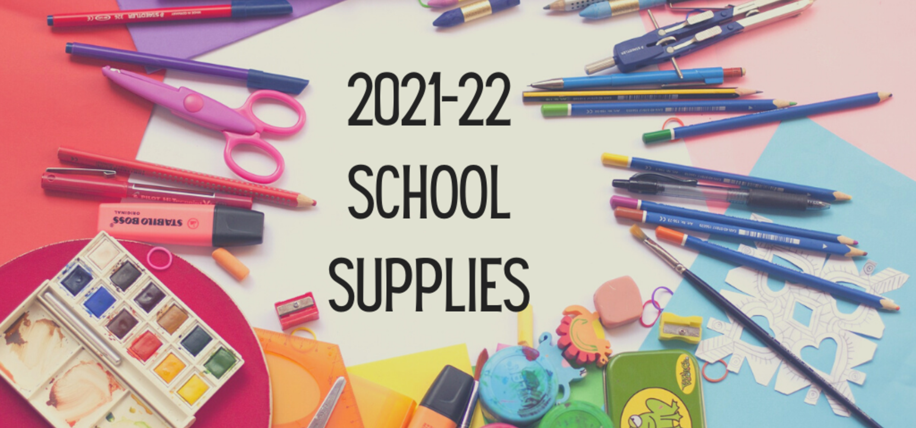 School supplies on a multicolored background