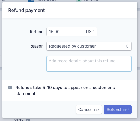 specify amount to refund and reason in popup