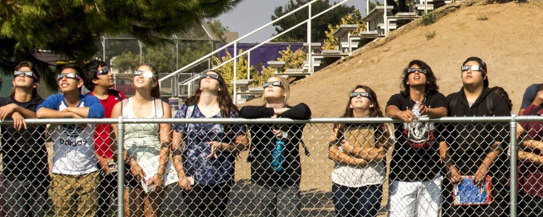 students viewing eclipse