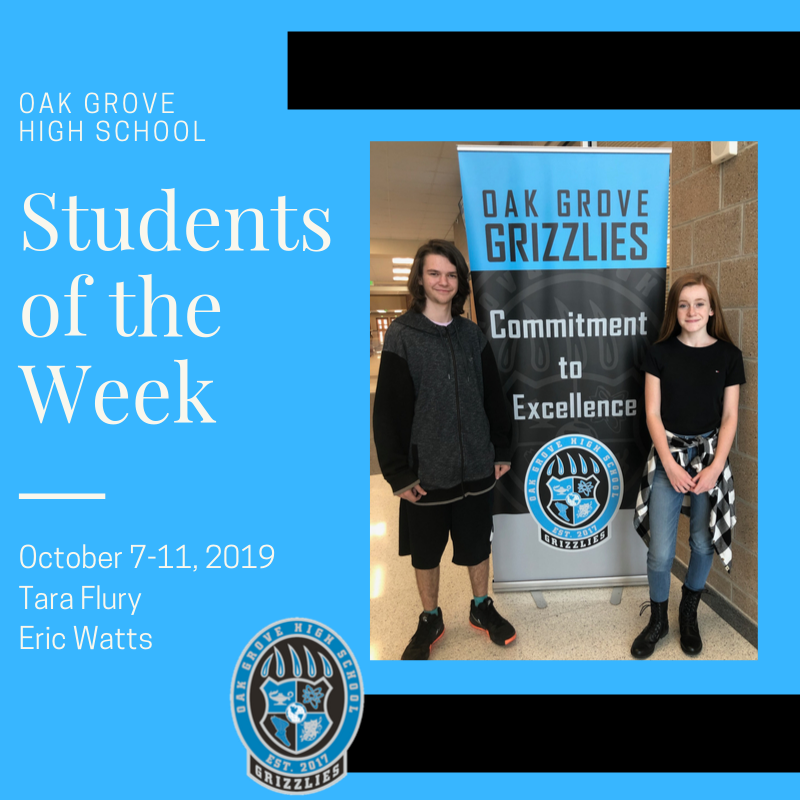 Students of the Week October 7-11, 2019: Tara Flury and Eric Watts