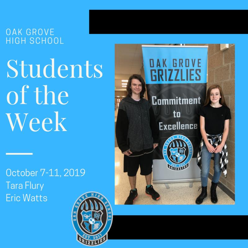 Students of the Week October 7-11, 2019: Tara Flury and Eric Watts