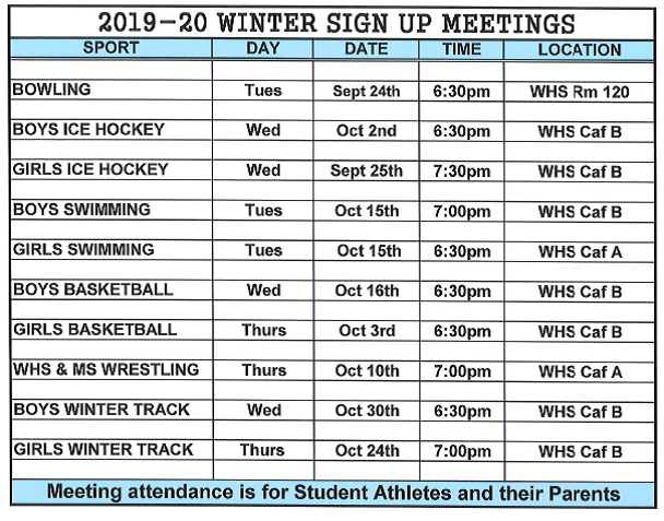 Winter Sign Up Meetings